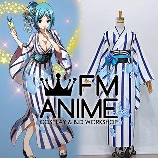 Magi: The Labyrinth of Magic Yamuraiha Blue White Kimono Cosplay Costume