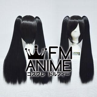 Medium Length Clips on Straight Black Cosplay Wig
