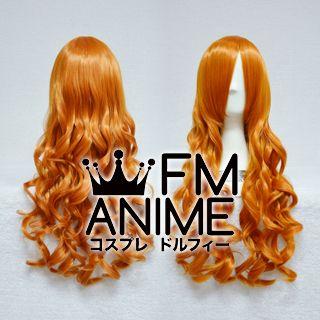 Medium Length Wavy Bright Orange Cosplay Wig