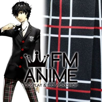 Shin Megami Tensei: Persona 5 Black White Red Plaid Pattern Cosplay Skirt Trousers Uniform Textiles Fabric