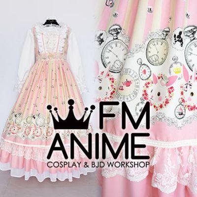 Alice's Adventures in Wonderland White Rabbit Pocket Watch Pink White Lolita Dress Cosplay Costume