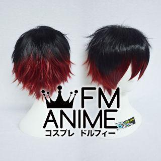 Short Spike Style Black & Dark Red Cosplay Wig