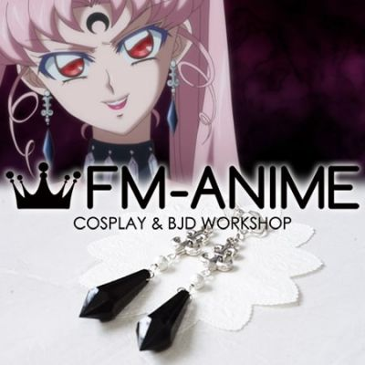Sailor Moon Black Lady Wicked Lady Silver Black Earrings Cosplay Accessories
