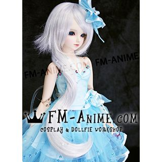 Short Layered with Long Wavy Ponytail Silver White BJD Dolls Wig