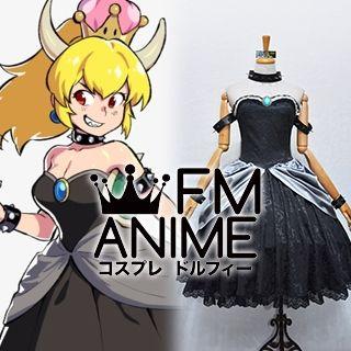 Super Mario Bowsette Queen Koopa Koopa-hime Black Lolita Cosplay Costume