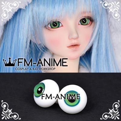 16mm Sea Blue Green Two Tones Colors Spiral & Black Pupil BJD Dolls Glass Eyes Eyeballs Accessories