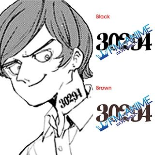 The Promised Neverland Nat 30294 Number Cosplay Tattoo Stickers
