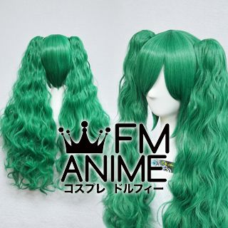 Long Length Clips on Wavy Mixed Pine Green Cosplay Wig