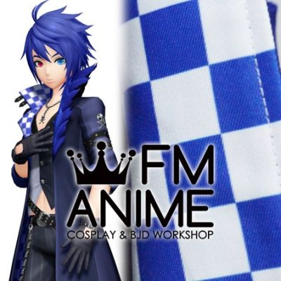 Vocaloid Kaito Majestic Stone Project Diva X Blue White Checked Pattern Cosplay Coat Textiles Fabric