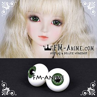 14mm / 16mm Forest Green White Sand Texture & Black Pupil BJD Dolls Glass Eyes Eyeballs Accessories