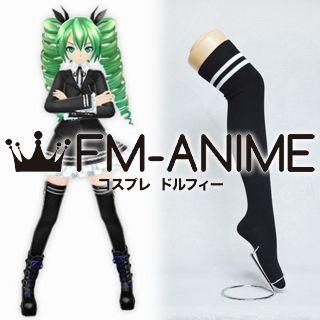 Vocaloid Miku Secret Police Black & White Over Knee Thigh High Striped Socks Cosplay