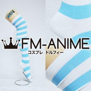 Light Blue & White Over Knee Thigh High Striped Socks Fashion Cosplay Anime Lolita Punk