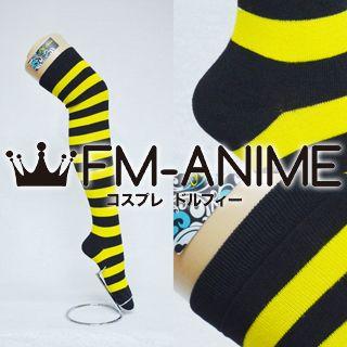 Yellow & Black Over Knee Thigh High Striped Socks Fashion Cosplay Anime Lolita Punk