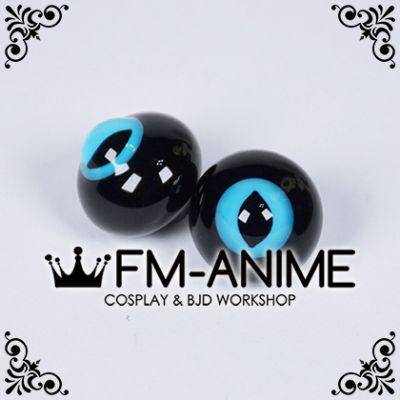 16mm Water Blue & Black Cat Eyes Pupil BJD Dolls Special Black Glass Eyes Eyeballs Accessories