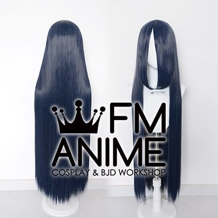 100cm Medium Length Straight Mixed Smoky Blue Cosplay Wig