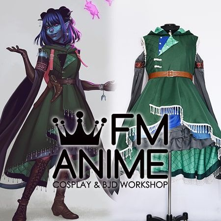 Critical Role Jester Lavorre Cosplay Costume Horns Earrings Tail