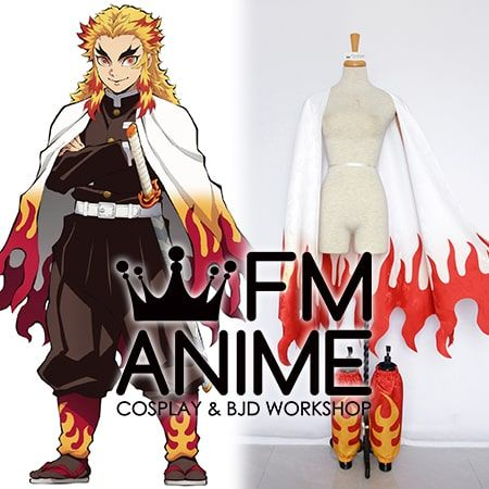 Demon Slayer: Kimetsu no Yaiba Kyojuro Rengoku Cloak Military Uniform Cosplay Costume