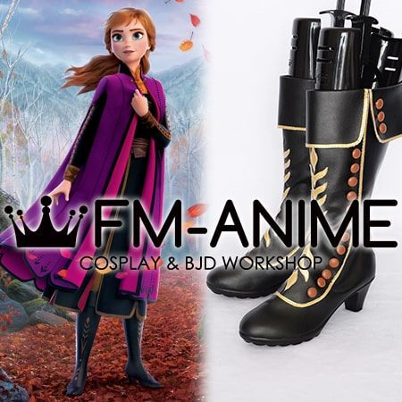 Frozen 2 Disney 2019 film Anna Black Gold Cosplay Shoes Boots
