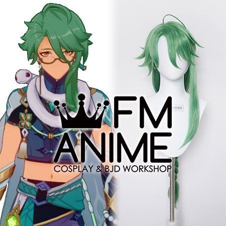 Genshin Impact Baizhu Green Cosplay Wig